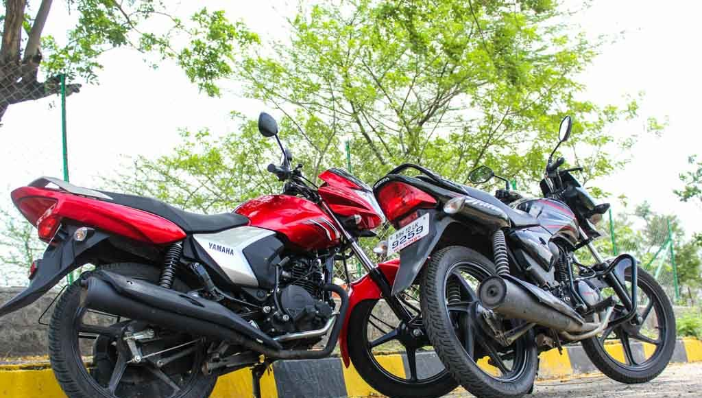 honda shine vs yamaha saluto road test review