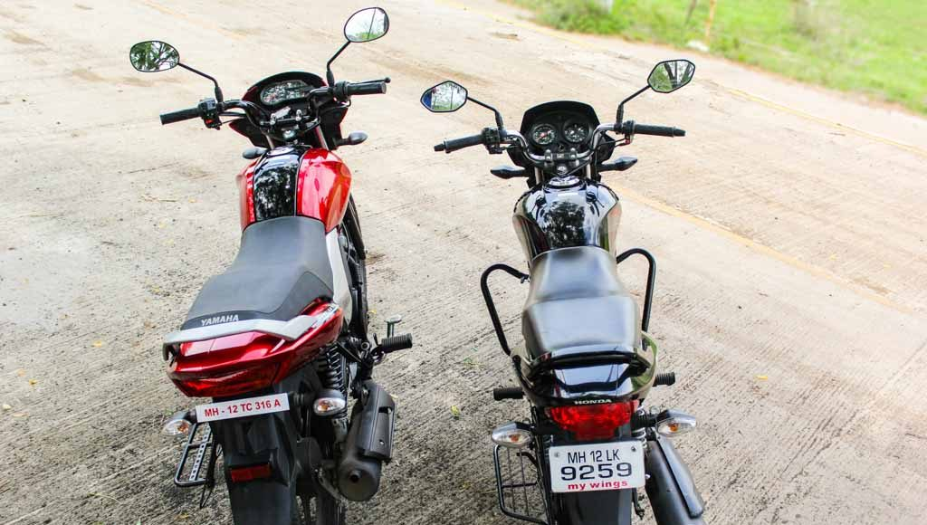 honda shine vs yamaha saluto test ride