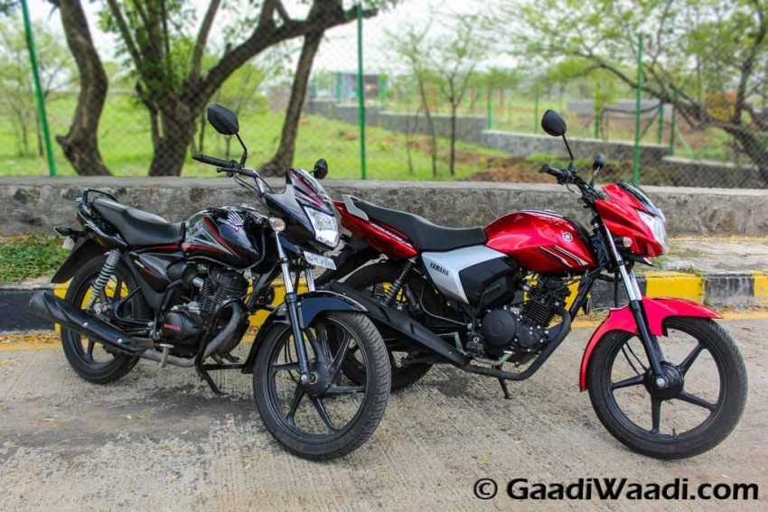 honda shine vs yamaha saluto test ride review