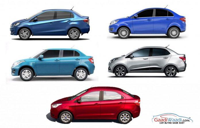 Ford Aspire vs Xcent Vs Zest Vs Amaze Vs Dzire