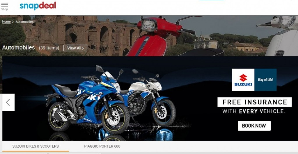 Suzuki-Snapdeal: Manufacturer to sell It's motorcycles and