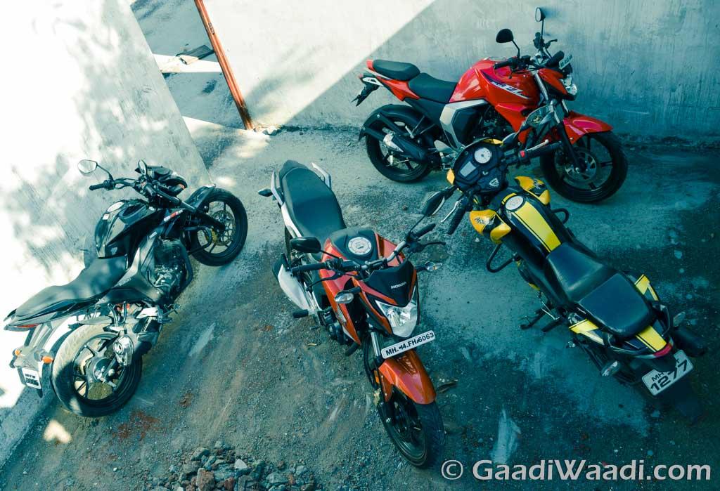 Honda CB Hornet vs Suzuki Gixxer vs TVS Apache vs Yamaha FZ16 (20)