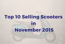 Top 10 Selling scooters in november 2015 in india