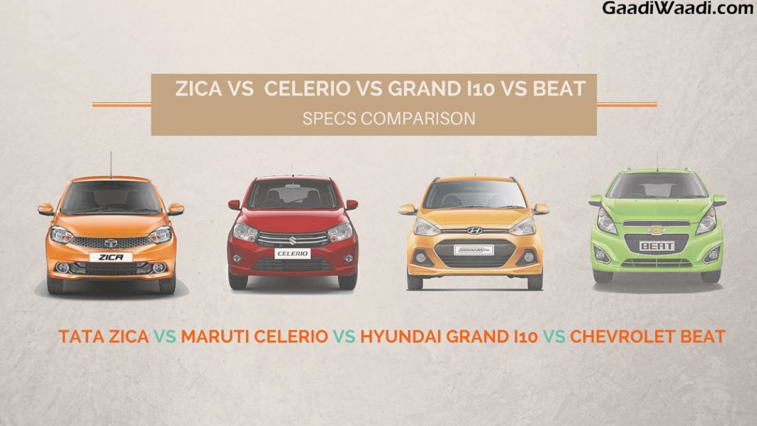 Tata Tiago Vs Beat Vs Grand I10 Vs Celerio Specs Comparison