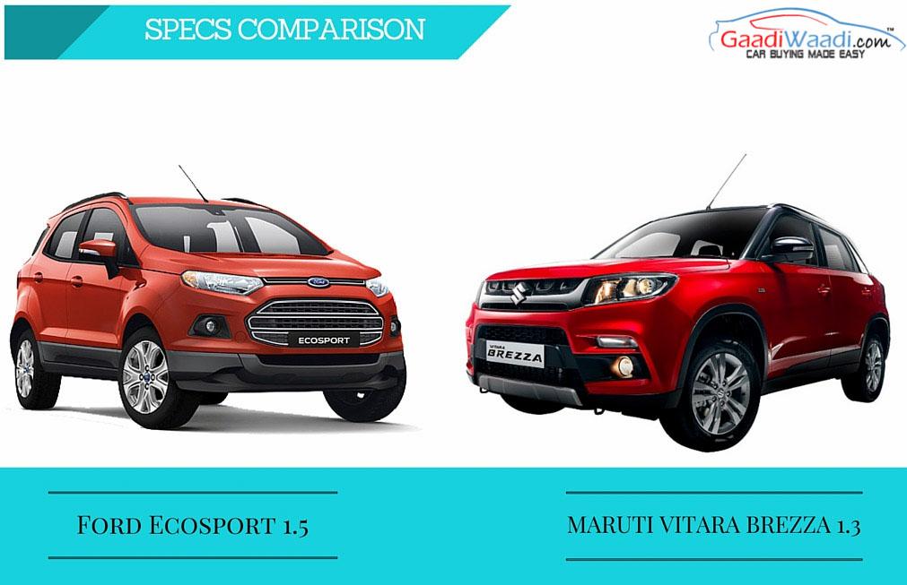 New Ford Ecosport V Maruti Vitara Brezza Spec Comparison