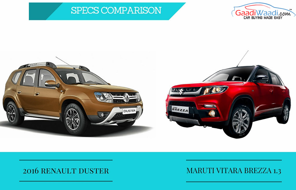 Maruti Vitara Brezza vs Renault Duster Facelift - Specs Comparison - Gaadiwaadi.com - Car News ...