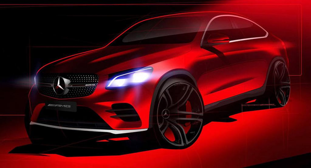 new mercedes amg glc 43 coupe teaser sketch released latest car news bikes. Black Bedroom Furniture Sets. Home Design Ideas