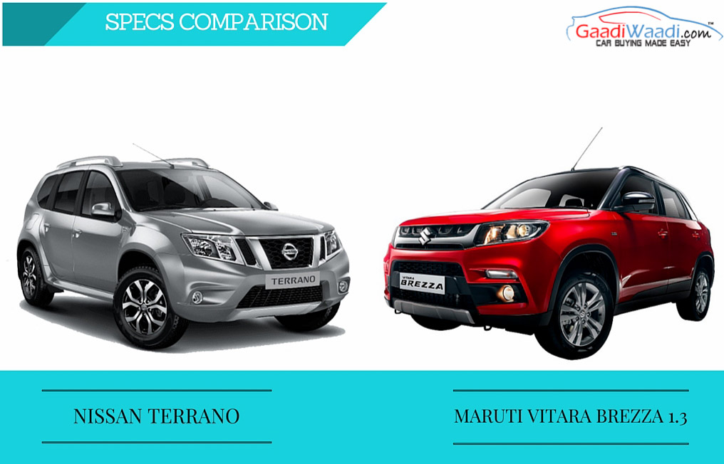 maruti vitara brezza vs nissan terrano spec comparsion