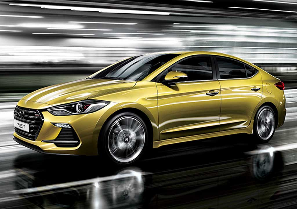 Hyundai-Avante-Elantra-Sport-Blazing-Yellow-Front-Three-Quarter.jpe