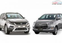 Toyota Innova Crysta vs Tata Hexa front