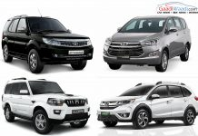 Toyota Innova Crysta vs Tata Safari Storme vs Mahindra Scorpio vs Honda BR-V- Spec comparison