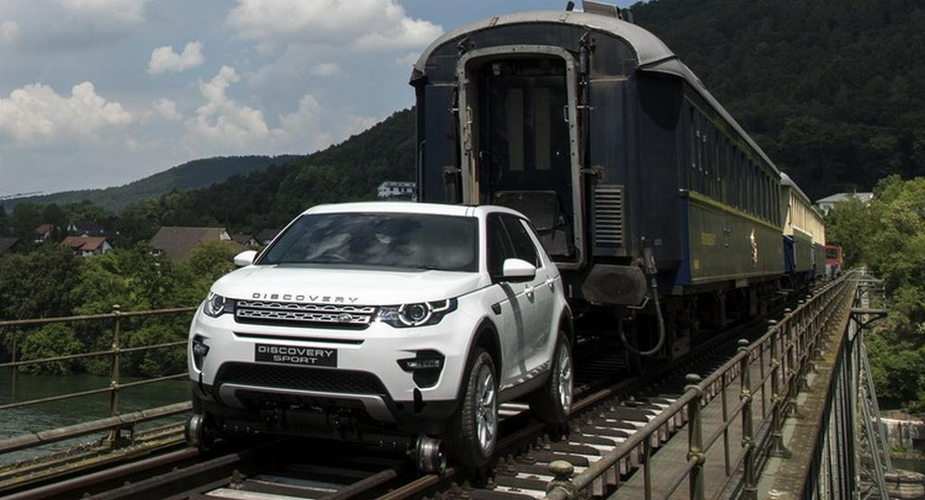 Land Rover Discovery Sport Pulls Train
