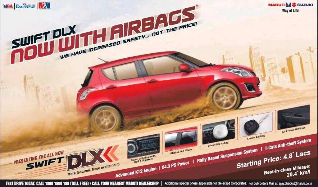 Maruti Suzuki Swift DLX Reintroduced with Standard Driver Airbag