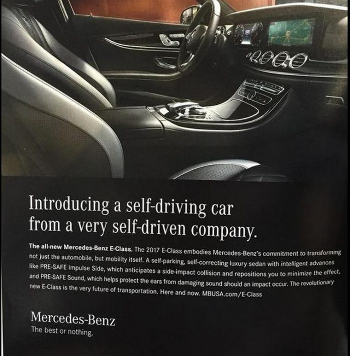 mercedes benz withdraws self driving car ad campaign of 2017 e class