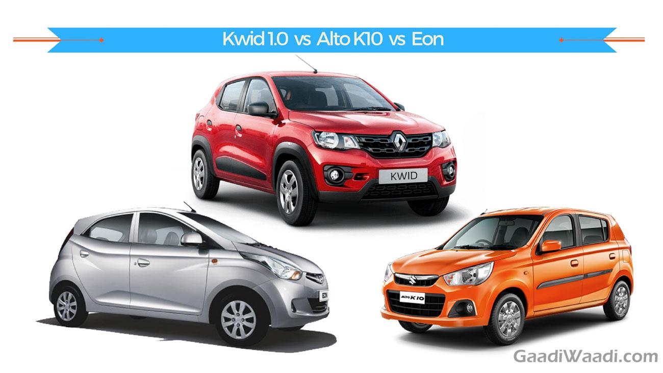 Renault Kwid 1 0 Vs Maruti Alto K10 Vs Hyundai Eon Spec Comparison
