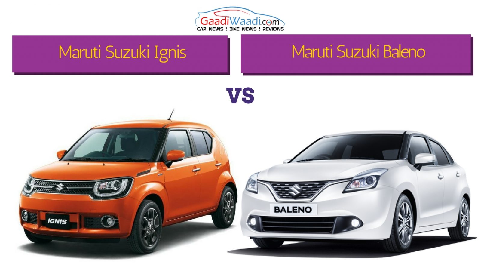 Maruti Suzuki Ignis Vs Maruti Suzuki Baleno Specs Comparison