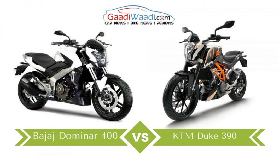 bajaj dominar 400 vs ktm duke 390