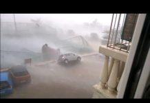 Car Blown Away due to Cyclone Vardah in Chennai
