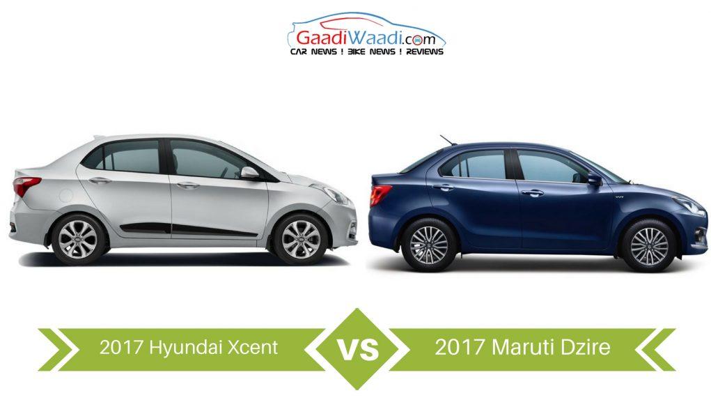 2017 Maruti Suzuki Dzire vs 2017 Hyundai Xcent Facelift – Specs Comparison 2