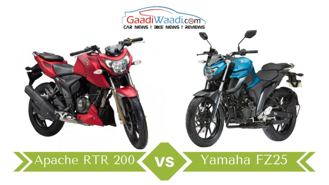 Swell Yamaha Fz25 Vs Tvs Apache Rtr 200 4V Specs Comparison Gmtry Best Dining Table And Chair Ideas Images Gmtryco