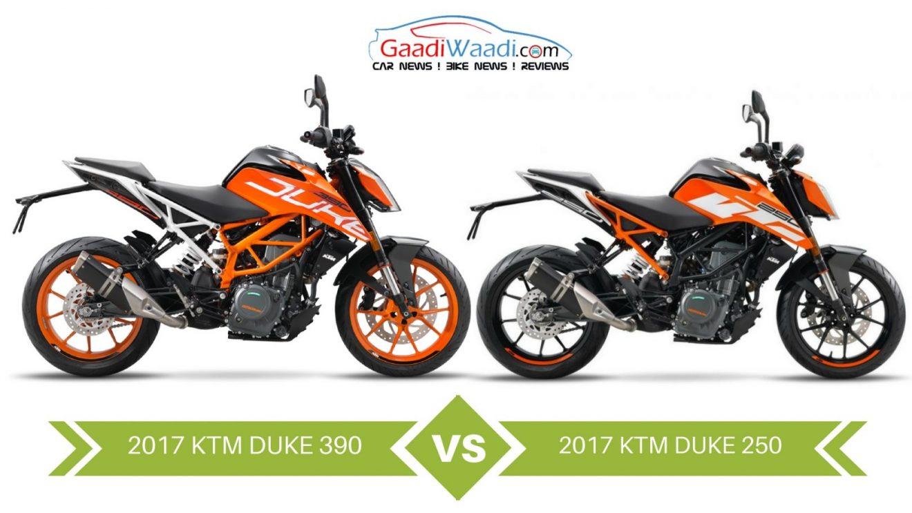 2017 Ktm Duke 390 Vs 2017 Ktm Duke 250 Design Amp Specs