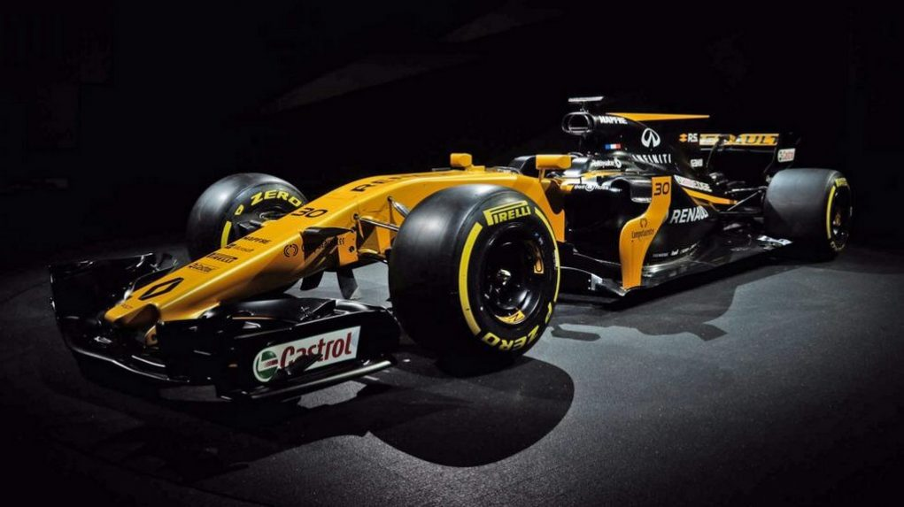renault reveals 2017 f1 challenger in london sports traditional yellow livery. Black Bedroom Furniture Sets. Home Design Ideas