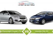 chevrolet cruze or vs honda city