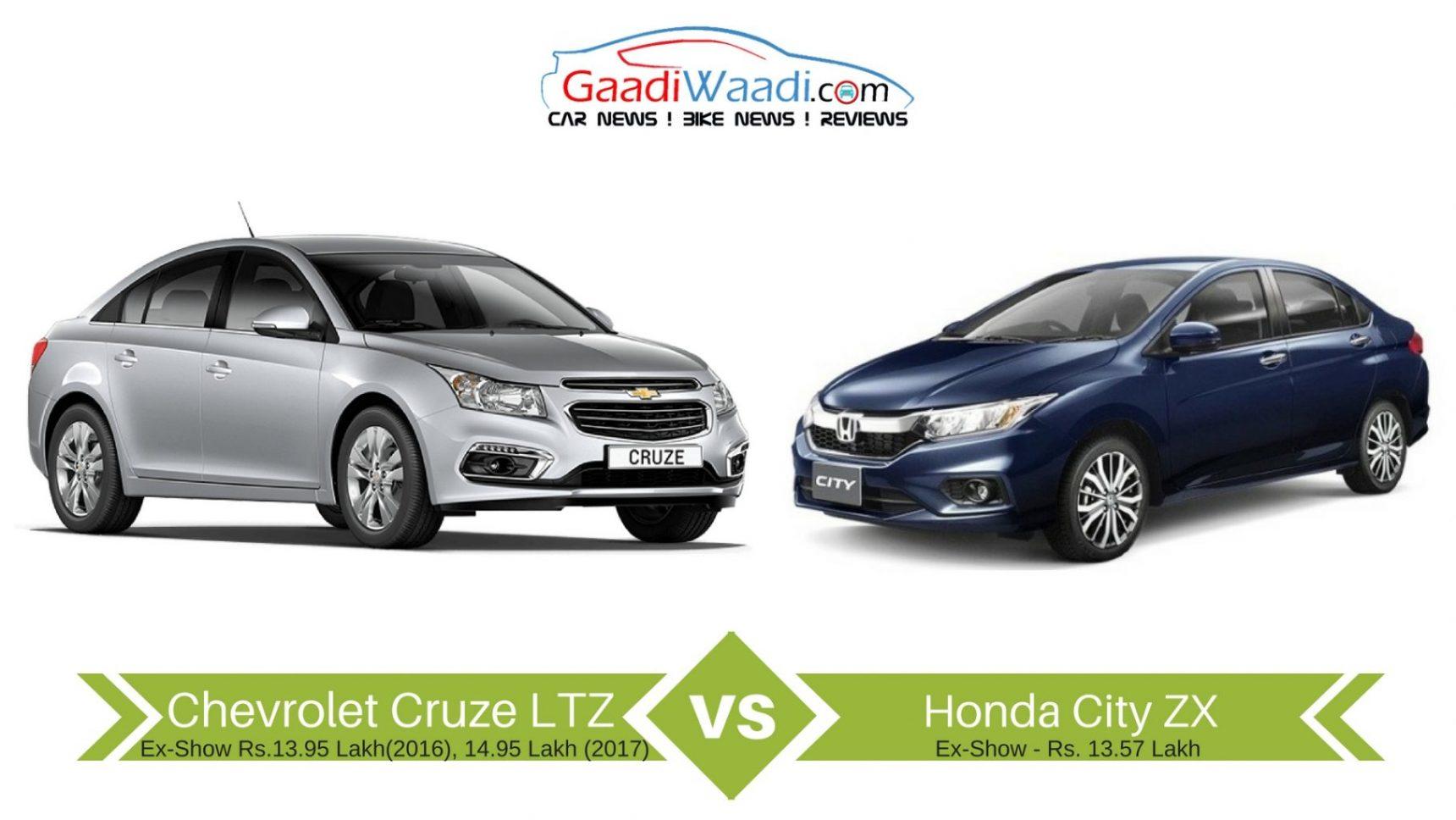New Honda City Vs Chevrolet Cruze Specs Comparison