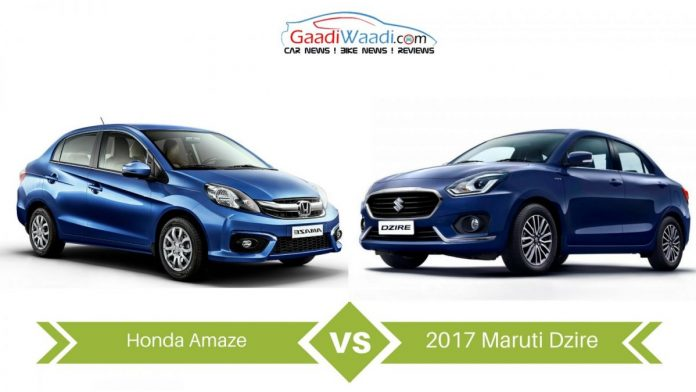 2017 Maruti Suzuki Swift Dzire vs Honda Amaze – Specs Comparison