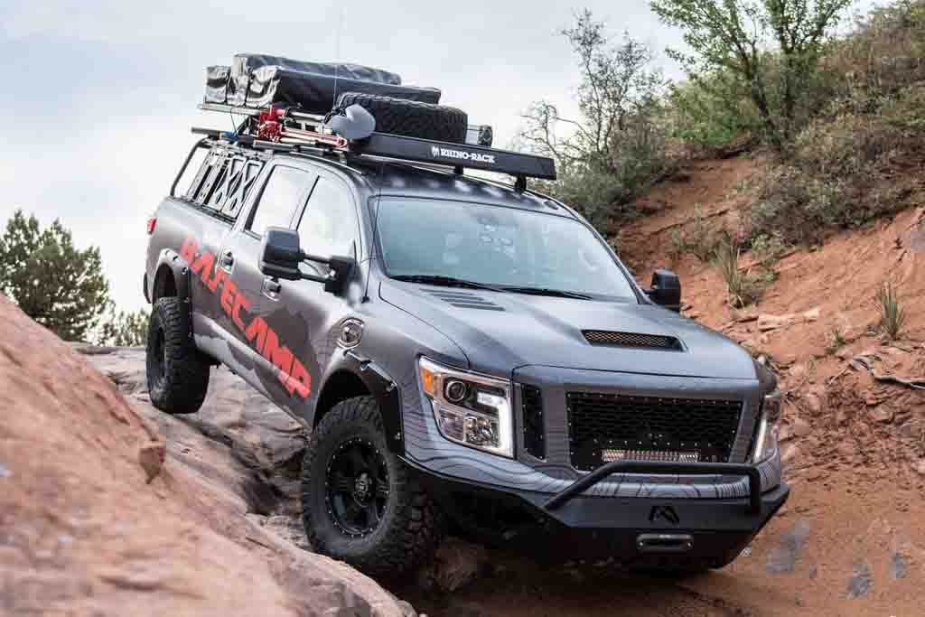 nissan titan xd pro 4x project basecamp unveiled at overland expo 2017. Black Bedroom Furniture Sets. Home Design Ideas