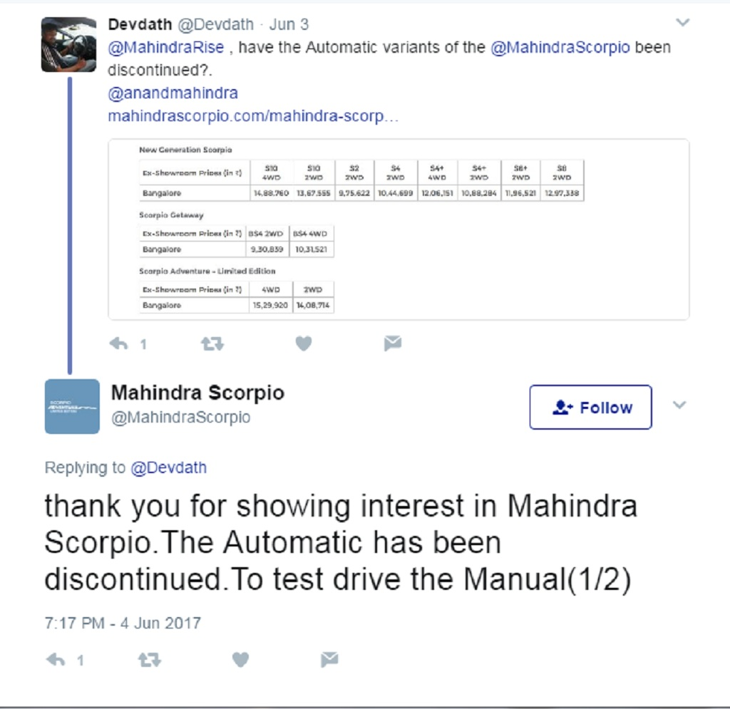 Part of the reason for the removal could be that mahindra could be working on a