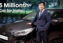 Hyundai Rolls Out 5 Millionth Car In India (Pictured - Mr. Y K Koo, MD and CEO, Hyundai Motor India Limited)