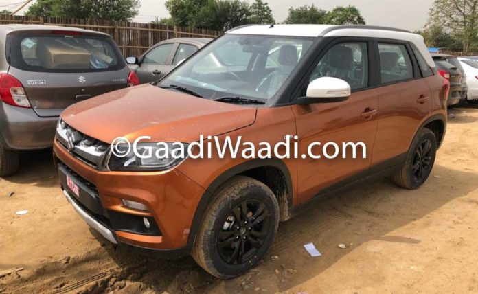 2018 Maruti Vitara Brezza AMT Spotted In Orange Colour At Dealer Yard 1