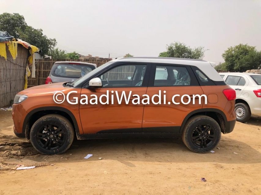 2018 Maruti Vitara Brezza AMT Spotted In Orange Colour At Dealer Yard