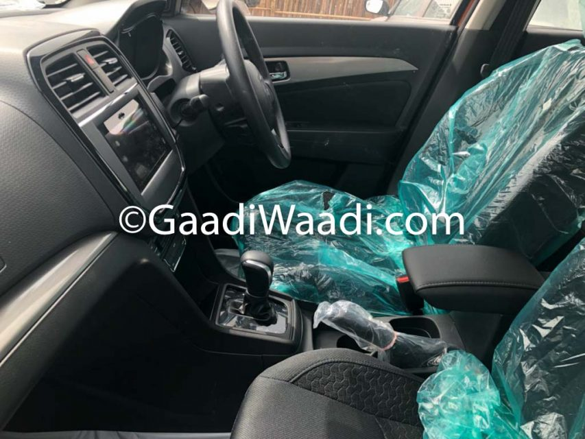 2018 Maruti Vitara Brezza AMT Spotted In Orange Colour Interior