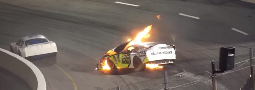 Father Saves Son Race Car Crash NASCAR Boston Speedway