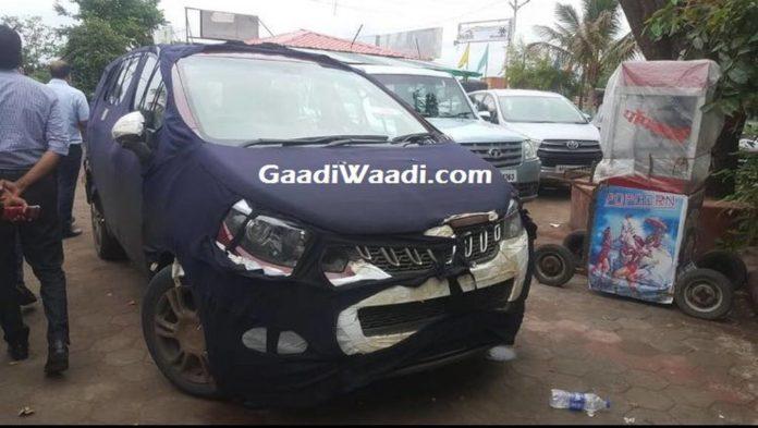 2018 Mahindra Premium MPV (Toyota Innova Rival) Spied Revealing Front End In India (Mahindra Marazzo)