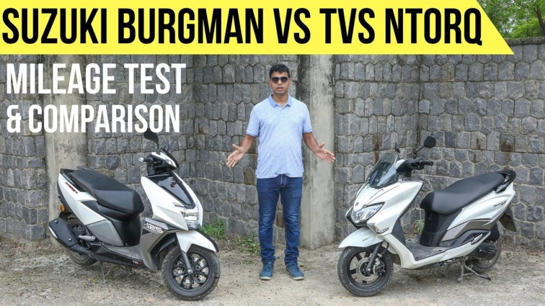 Suzuki Burgman Street 125 v TVS NTorq Comparison & Mileage Test Video