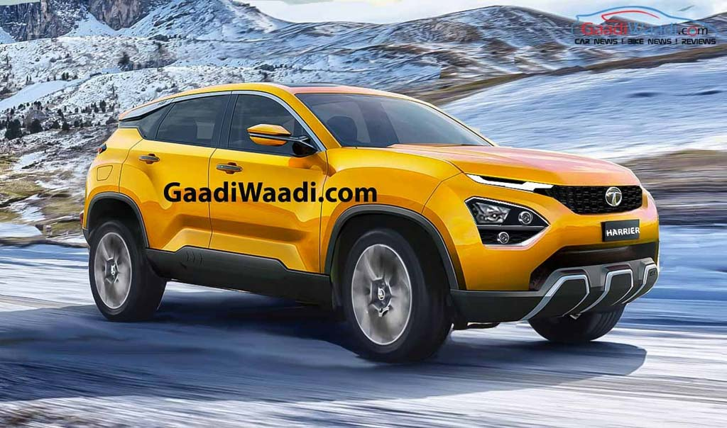 2019 Tata Harrier SUV Rendered Yellow