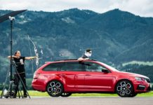 Guy Catches a Flying Arrow from the Sunroof of a Speeding Skoda Octavia Combi vRS-1