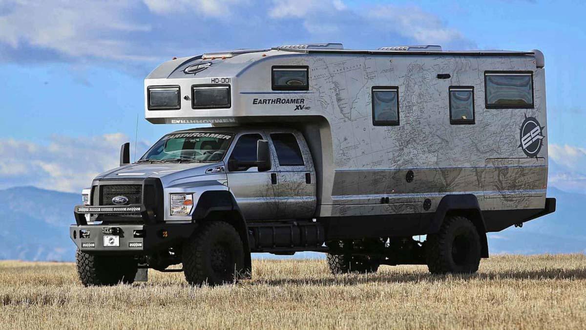 earthroamer xv hd   massive motorhome  ford  truck