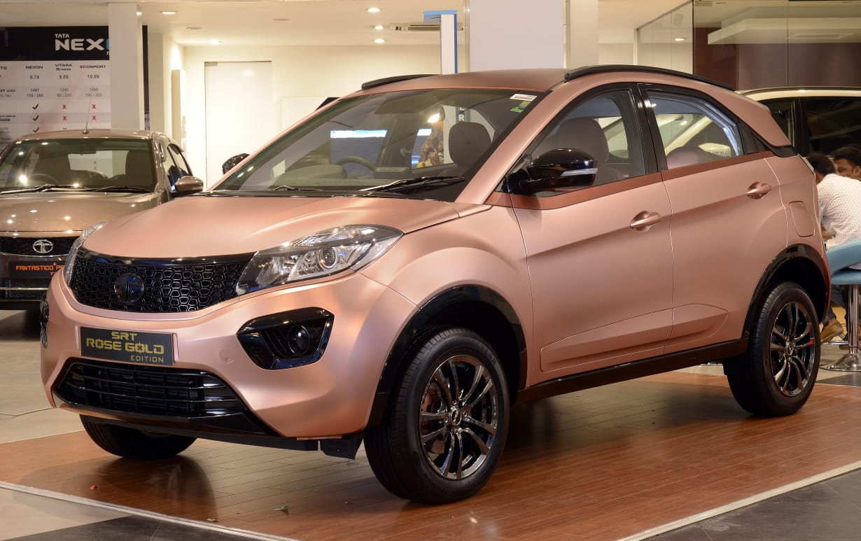 Tata Nexon Rose Gold Edition Showcased at a Dealership