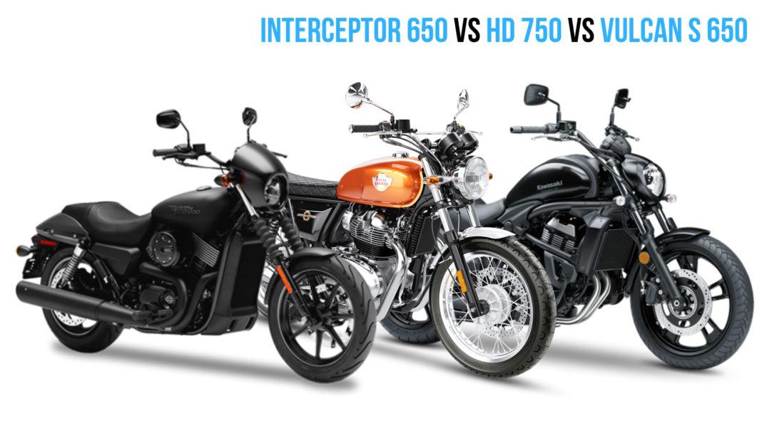 RE Interceptor 650 Vs HD 750 Vs Kawasaki Vulcan S 650 - Comparison