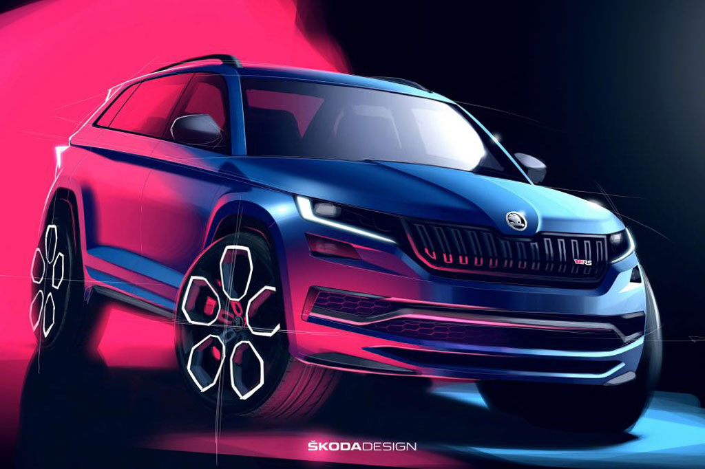 skoda kodiaq vrs design sketches revealed fastest 7 seat production suv. Black Bedroom Furniture Sets. Home Design Ideas