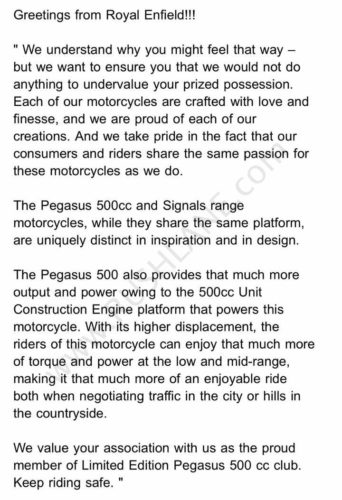 royal enfield reply pegasus owners
