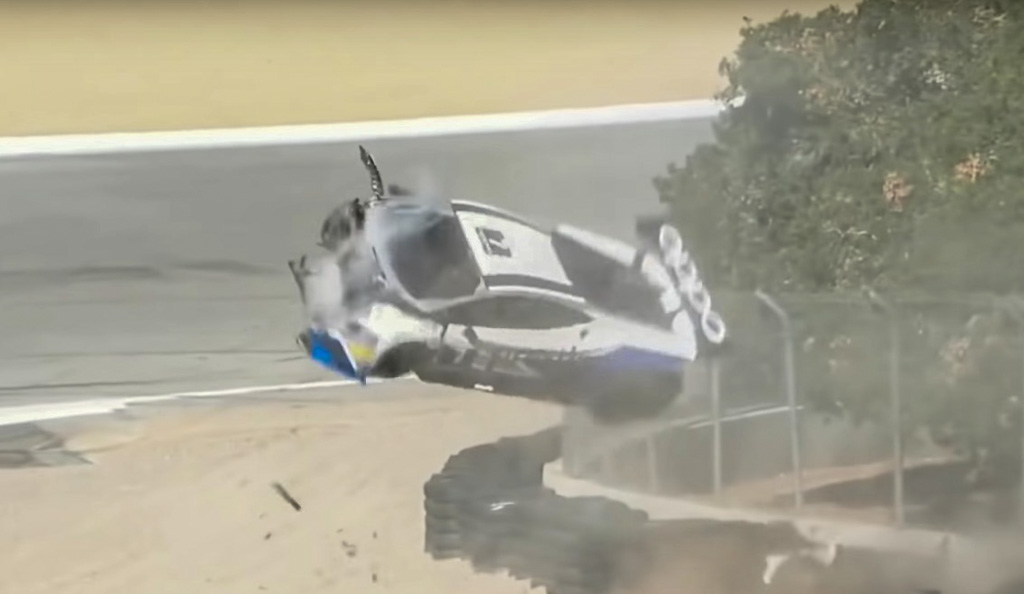 sheena monk crash Lamborghini super trofeo laguna seca