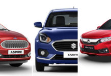 2018 ford aspire vs maruti dzire vs honda amaze 2018