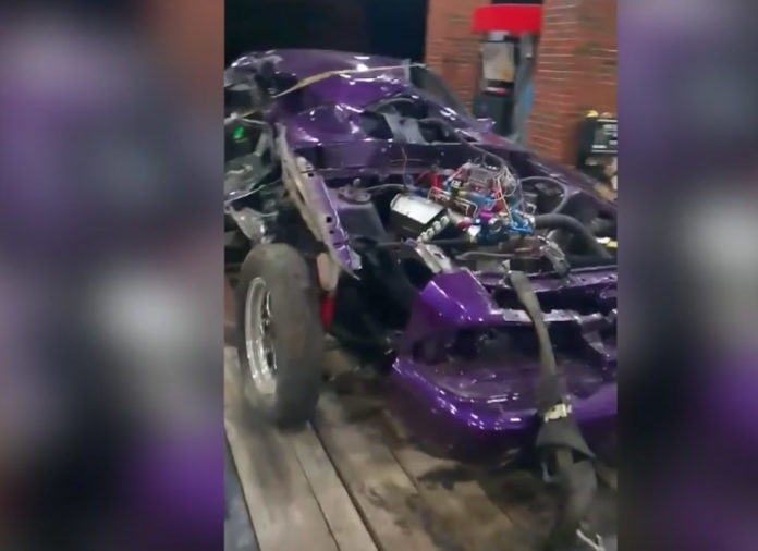 Driver Lucky To Be Alive After Mustang Splits In Half During Street Race (mustang street racing accident)