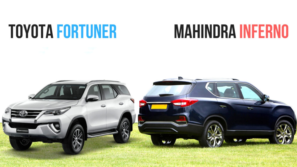 Mahindra Inferno (Y400) VS Toyota Fortuner Comparison front