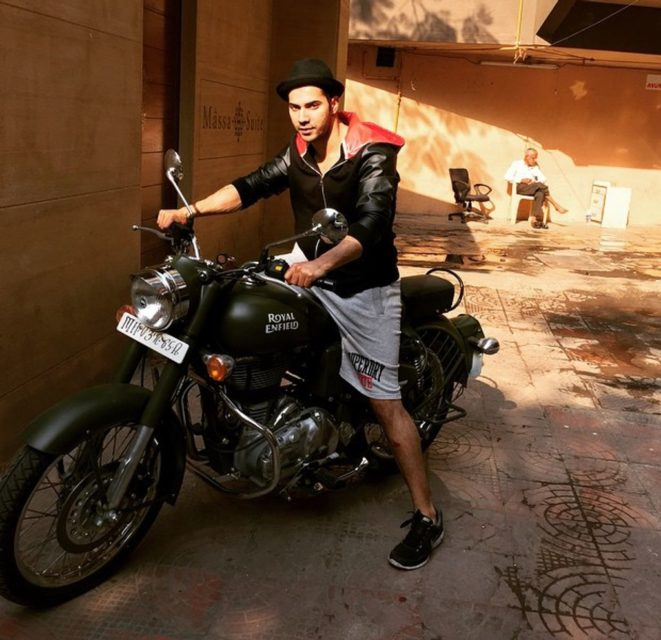 Varun-Dhawan-with-his-Royal-Enfield